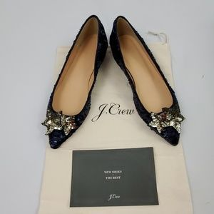 J. Crew Sequin Pointed Toe Flats/Blue/Size 7 (567)